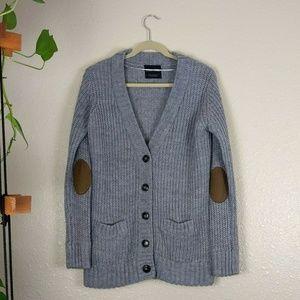 Zara Knit Grey Brown Cardigan Elbow Patch Medium